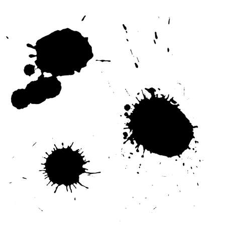 Ink black blot set. Abstract stain. Isolate on a white background Illustration