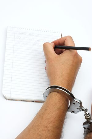 hand with handcuffs close up Stock Photo - 3471805