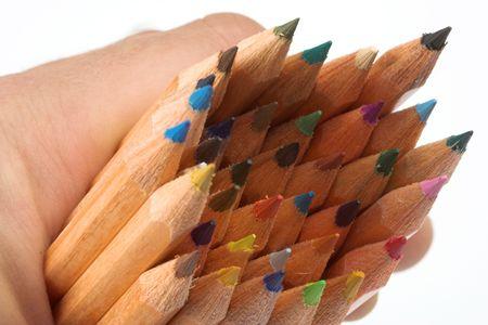 many pencils orderly close up photo