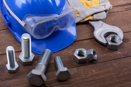 Various worker safety equipment  isolated  photo