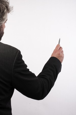 image of man with pen photo