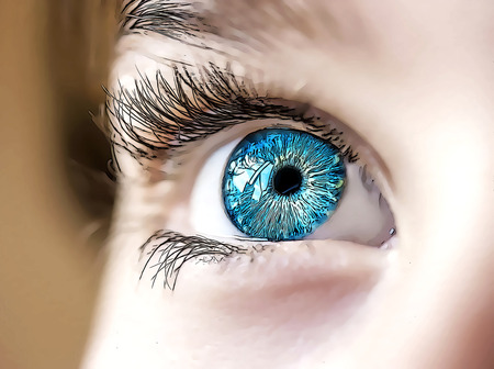 insightful look blue eyes boy Standard-Bild