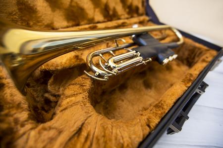 memorabilia: Gold trumpet in case