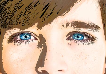insightful look cartoon eyes.
