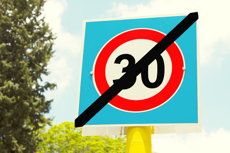 established: road sign 30 zone ends here Stock Photo
