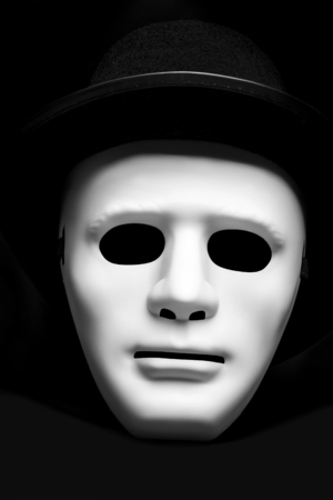 white mask: White mask in cylinder hat