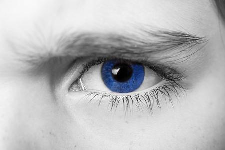insightful look blue eyes boy Stock Photo