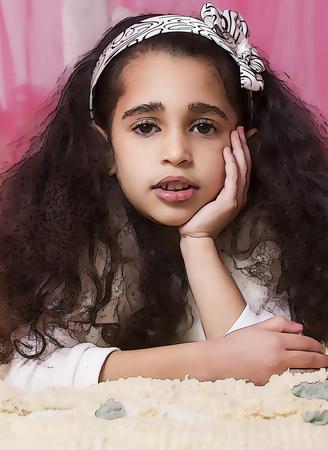 girl lying studio: Little cute swarthy brunette girl on pink background. Cartoon