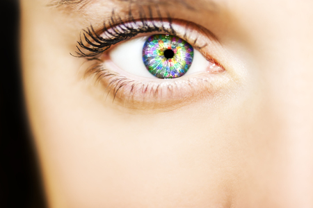 whites: Close-up of beautiful colorful human eye