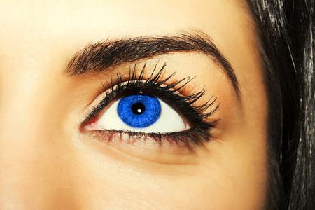 extremely: Woman blue eye with extremely long eyelashes Stock Photo