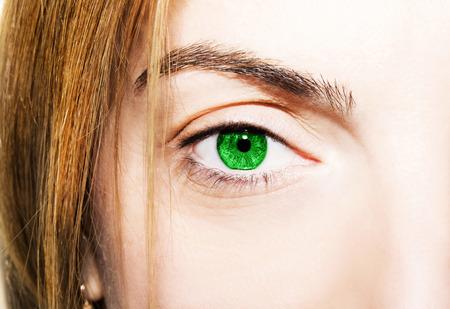 insightful: Beautiful insightful look green eyes Stock Photo