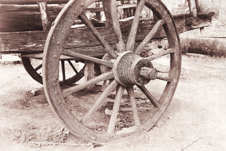horse drawn: Old horse drawn wooden cart in Tbilisi, Georgia Stock Photo