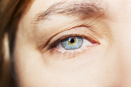 A beautiful insightful look womans eye. Close up shot Stock Photo