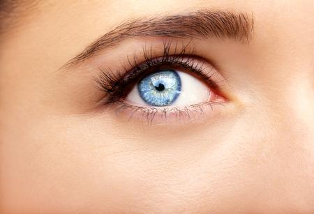 Beautiful insightful look blue womans eyes