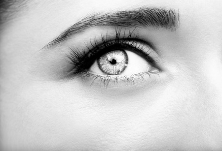 Beautiful insightful look womans eyes. Monochrome