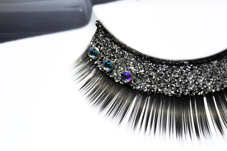 Black false eyelash with rhinestone