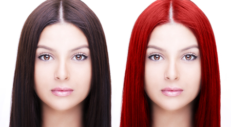 Comparative portrait of woman before and after dyeing hairs isolated on white Stock Photo