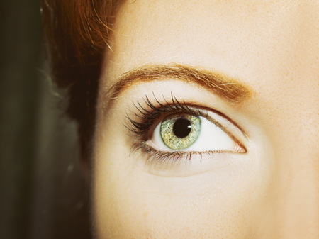 close up eyes: A beautiful insightful look womans eye. Close up shot Stock Photo