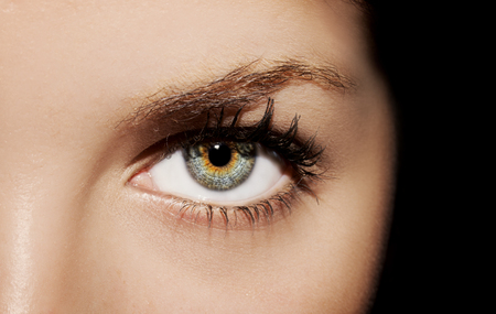 A beautiful insightful look womans eye. Close up shot Stock Photo