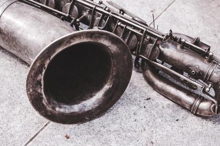 soprano saxophone: Close up of the old tenor saxophone in vintage look. Foto de archivo