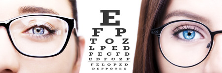 Two womens checking the eyesight with vision test with the eye chart