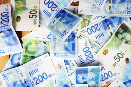 Israely Shekel money bills collection background