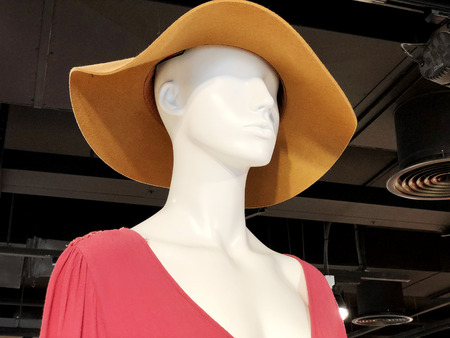 Shop women's clothing. Mannequin in modern stylish clothes. Mannequin in a bonnet. Imagens