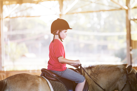 Portrait of little boy riding a horse. First lessons of horseback riding