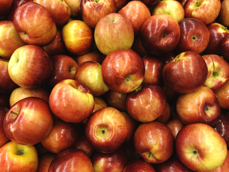 Apples in the market. Red yellow apple close-up. A lot of apples Stockfoto