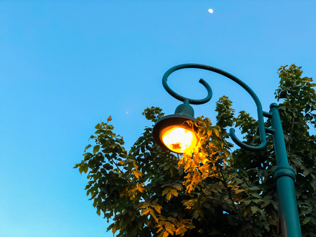 A bright lantern against the blue sky peeps out the medium of the trees. Close-up. Stock Photo