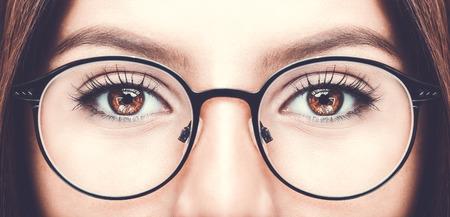 Beautiful young woman wearing glasses. Close up shot Foto de archivo