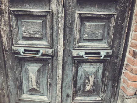 Old Tbilisi architecture,The entrance door and exterior decor in summer day.