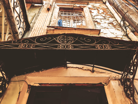 Old Tbilisi architecture, windows, doors and exterior decor in summer day