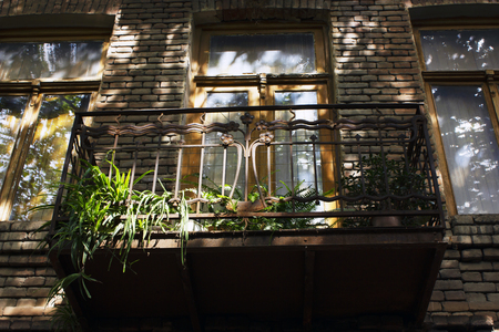 Old Tbilisi architecture, window and exterior decor in summer day. Stok Fotoğraf