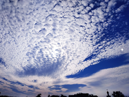 Blue sky background with clouds . Sky with clouds. Stok Fotoğraf