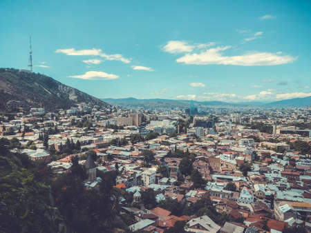 A breathtaking view of the city from the top of Sololaki hill in Tbilisi.