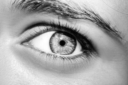 Una hermosa mirada perspicaz de ojos de mujer. Fotografía de cerca Foto de archivo