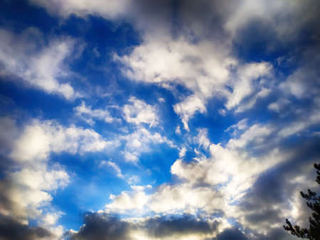 Dramatic cloudy sky with scenic clouds. Sky landscape. Imagens
