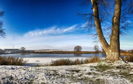 Rest on the winter nature. Beautiful winter landscape. Snow covered trees. Beautiful white snowy nature background. Imagens - 150549873