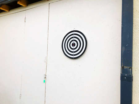 Outdoor in summer residence. Throwing Darts at the Wall.