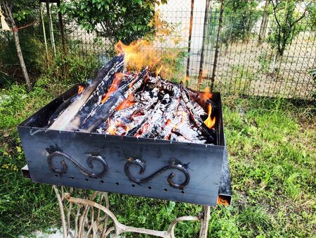 Outdoor in summer residence. Barbecue in the village yard. Stock Photo