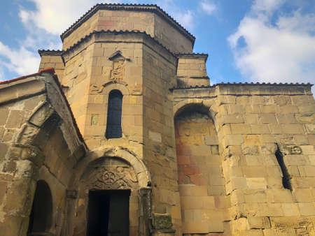 Close up view of  the sixth century Georgian Orthodox Jvari monastery near Mtskheta Georgia. Imagens - 150635905