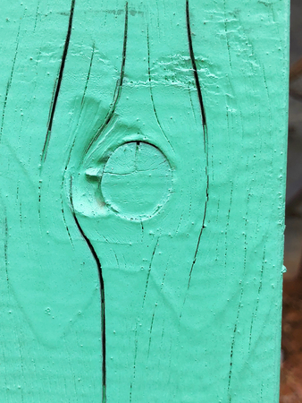 Wooden fence painted in green colors . Close up shot. Stok Fotoğraf