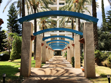little city park near the residential building in Rishon Le Zion, Israel.