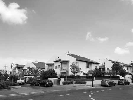RISHON LE ZION, ISRAEL -August 25, 2018:  The street and private houses  in Rishon Le Zion, Israel.