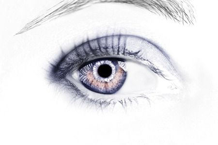 Un ojo hermoso y perspicaz. Fotografía de cerca.