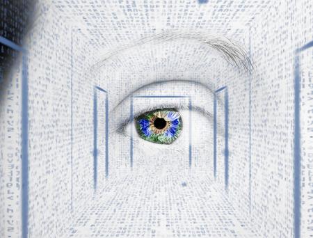 Oeil abstrait avec cercle numérique. Concept de science et d'identification de la vision futuriste.