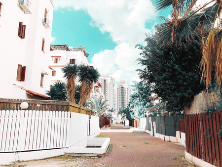 RISHON LE ZION, ISRAEL -December 4, 2018:  Residential buildings and trees  in Rishon Le Zion, Israel. 写真素材