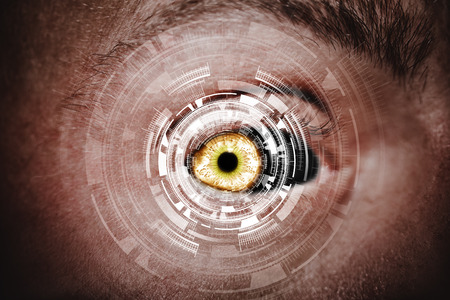 Abstract eye with digital circle. Futuristic vision science and identification concept . Reklamní fotografie