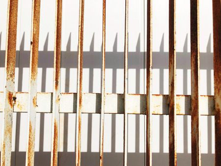 Rusty old corrugated iron fence can be used us background.